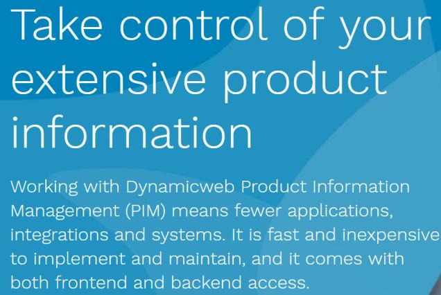 Dynamicweb PIM front